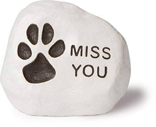 """Miss You"" – (Paw Print) Engraved in a Heavy little Rock For Sale"