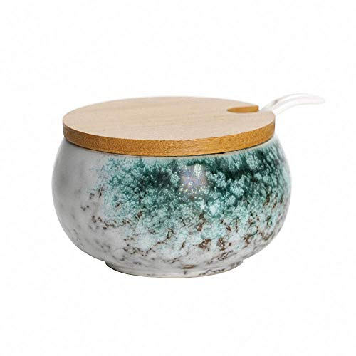 - Japanese Style Retro Glaze Ceramic Sugar Bowl Set Sugar Dispenser Salt Pot Pepper Storage Jar Seasoning Pot Container Sugar Box Condiment Spice Holder with Wooden Lid and Spoon