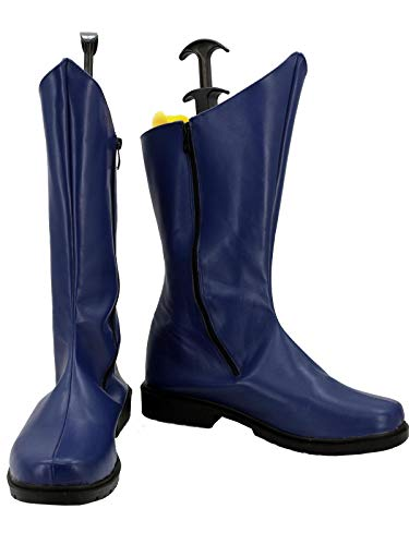 GOTEDDY Adult Hero Bruce High Boots Halloween Cosplay Blue Leather Zip Shoes]()