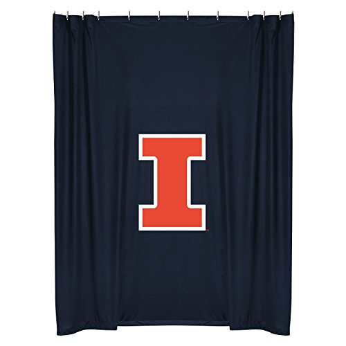 Illinois Fighting Illini COMBO Shower Curtain, 4 Pc Towel Set & 1 Window Valance/Drape Set (63 inch Drape Length) - Decorate your Bathroom & SAVE ON BUNDLING! by Sports Coverage