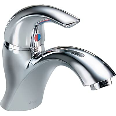 Delta 22C601 Single Handle 1.5GPM Single Hole Mount Bathroom Faucet with Wrench Flat Aerator,