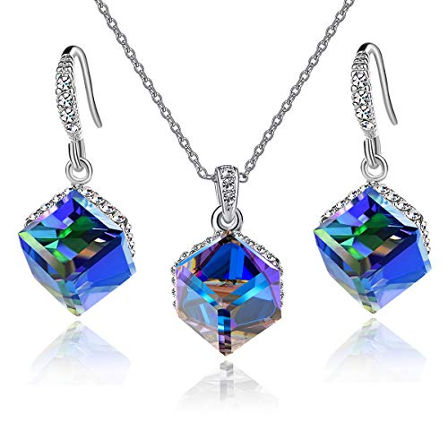 Swarovski Pendant Earrings - EVEVIC Colorful Cubic Swarovski Crystal Pendant Necklace Earrings Set for Women Girls 14K Gold Plated Jewelry Set (Blue Crystal/Silver-Tone)