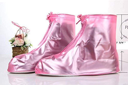 Puddles For Her - Womens Waterproof Emergency Rain Wear for the Feet, If you Splash Weve Got You Covered!, Pink / Blue (Pink, Small 6-6.5)