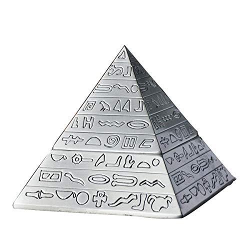 Cxmm Retro Ashtray Home Creative Pyramid Shape Metal Carving Cigarette Ashtray Living Room Decoration (12.9 12.9 11.2cm) Silver