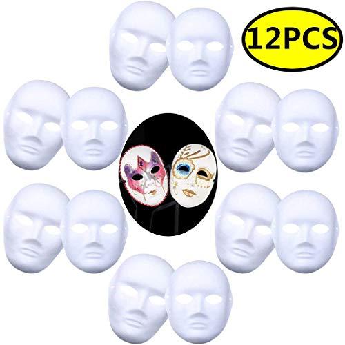 Pannow 12 PCS DIY White Mask, Paper Full Face Opera Masquerade Mask Plain Mask Halloween Mask Mardi Gras Mask(6pcs Male 6pcs Female) ()