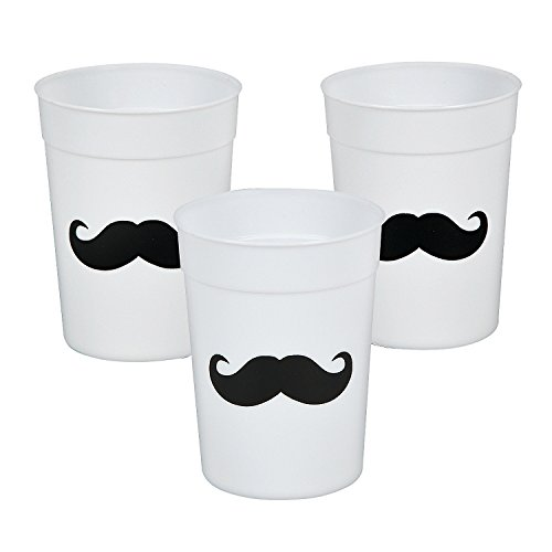Fun Express Mustache Cups Reusable Plastic Party Cups
