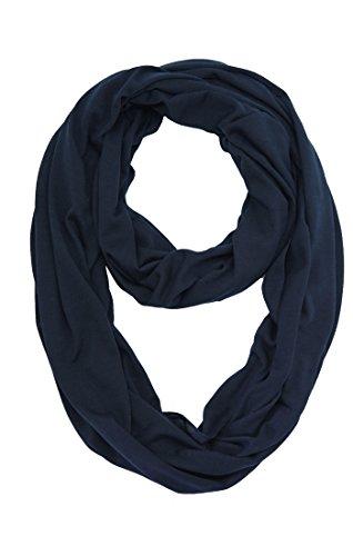 MissShorthair Lightweight Plain Infinity Scarfs for Women(Navy Blue) ()