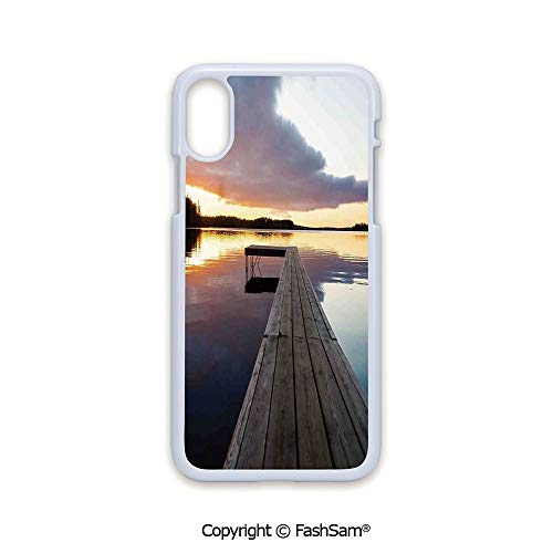 Phone Case Compatible with iPhone X Black Edge View of Sunset Over an Old Oak Deck Pier and Calm Water of The Lake Horizon Serenity 2D Print Hard Plastic Phone Case
