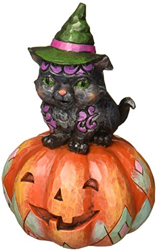 Enesco Jim Shore Heartwood Creek Pint Sized Black Cat on Pumpkin -
