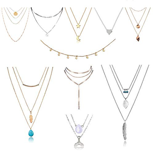 MJartoria 10 Set Layered Necklace Fashion Metal Silver Choker Necklace Set with Pendant for Women (Necklace Set Layer)