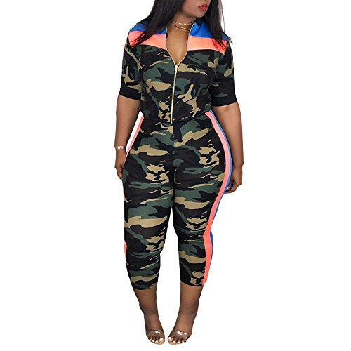 - Women Plus Size Camouflage Half Sleeve Casual Set, Women Top and Pants Set Two Piece Outfit Sweatsuit Tracksuit(Blue, 2XL)