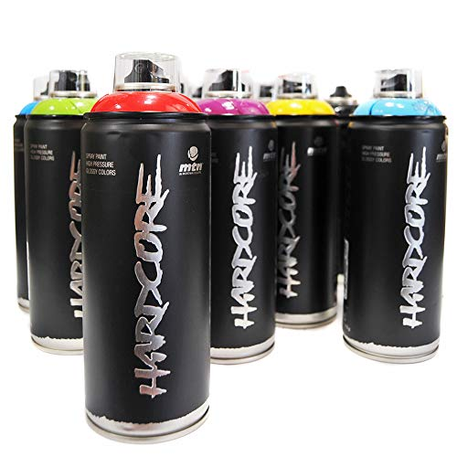 (MTN HARDCORE 2 400ml Popular Colors Set of 12 Graffiti Street Art Mural Spray Paint)