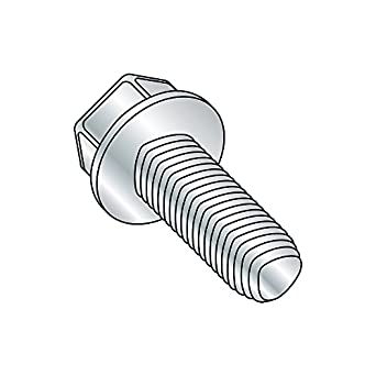Steel Thread Cutting Screw 3//8 Length Type 1 Hex Washer Head Green Zinc Plated Pack of 100 #8-32 Thread Size