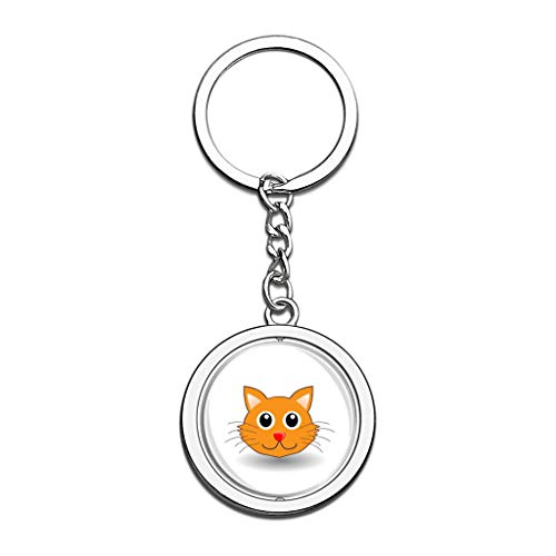 Cat Face Animal Keychain 3D Crystal Spinning Round Stainless Steel Keychains Key Chain Ring Stick Figure]()