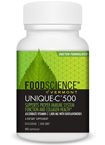 FoodScience of Vermont Unique C 500, Ascorbate Vitamin C Supplement, 90 CT