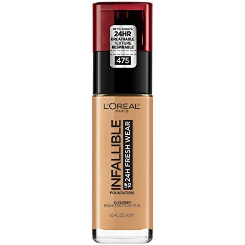 L'Oréal Paris Makeup Infallible up to 24HR Fresh Wear Liquid Longwear Foundation, Lightweight, Breathable, Natural Matte Finish, Medium-Full Coverage, Sweat & Transfer Resistant, Sun Beige, 1 fl. oz.