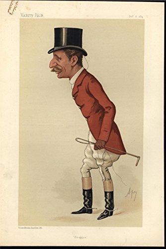 Captain Arthur Smith Huntsman Riding Crop 1884 antique color portrait print