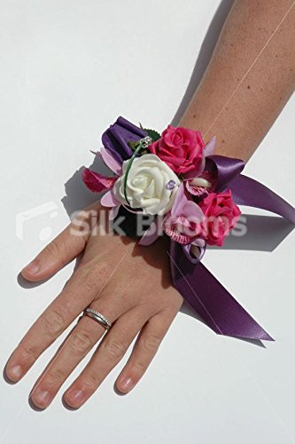 Gorgeous Ivory & Pink Rose Wrist Corsage with Madagascar Orchid ()