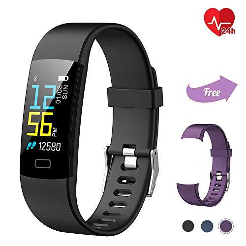 TwobeFit Fitness Tracker, Activity Tracker Waterproof Color Screen Heart Rate Sleep Monitor Fitness Watch Pedometer Step Counter Smart Watch Bracelet Wristband Kids Women Men (Black Purple)
