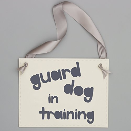 Guard Dog In Training Sign Puppy Baby Pregnancy Announcement Banner Prop | Dog Sign For Pregnant Announcement | Gray Ink on Ivory Paper