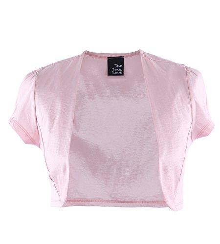 The True Love Cap Sleeve Satin Shrug Bolero Evening Cardigan, Medium, Pink