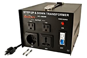 Simran AC-3000  Step Up/Down Voltage Transformer 3000 Watts Power Converter for Conversion Between 110 Volt and 220 Volts, CE Certified