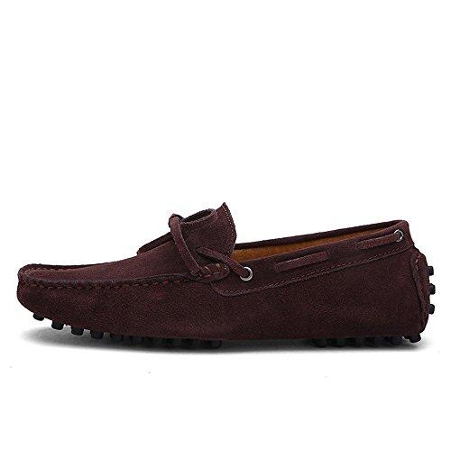 Cuero Genuino EU Loafers los del 2018 para shoes Zapatos Coffee Mocasines Hombres Mocasines Hombre Penny de Conducción Shufang tamaño Barco 42 Color Ligeros Sg7qn