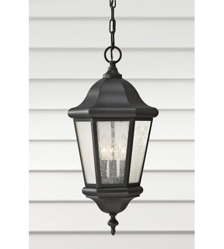 Sea Gull Lighting OL5911BK Martinsville Three Light Outdoor Pendant Lantern, - Outdoor Lantern Martinsville