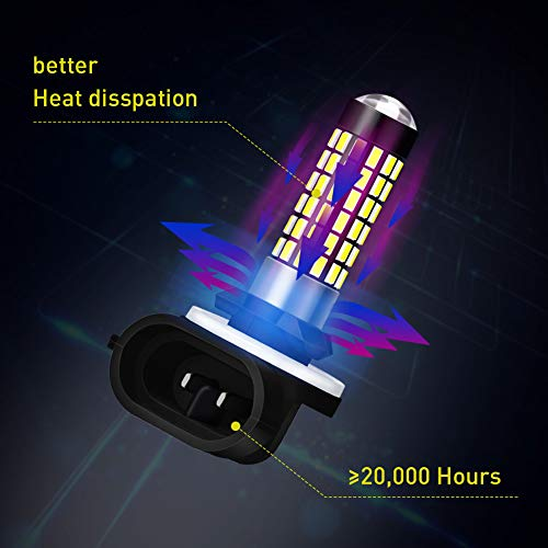 NATGIC 2PCS 881 Fog Light bulb 900LM 3014SMD 78-EX Chipsets 894 886 889 896 898 LED Bulbs with Lens Projector Used for Fog Light Lamp,Xenon White 6500K,12-24V 4W