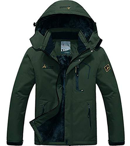 XinYangNi Mens Winter Fleece Hooded Mountain Fleece Ski Windproof Rain Jacket Snow Coat Mountain Jacket Outwear