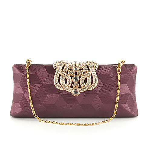 Dinner LHJ Pranzo Da Strass Da Dating Pu Tote Donna Pochette Con Purple Tessuto Pranzo Con Quadrato Pattern Motivo Set In Onesize Pochette Da Pranzo Da Bag Party qEBrqUw