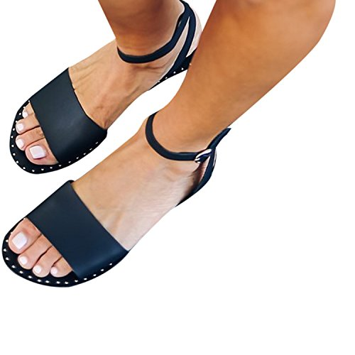 (Liyuandian Womens Soft Faux Leather Open Toe Ankle Strap Buckle Flat Sandals)