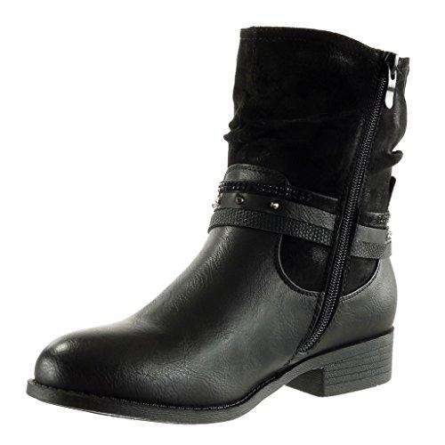 Angkorly - damen Schuhe Stiefeletten - Reitstiefel - Kavalier - Biker - bi-Material - Multi-Zaum - Schlangenhaut - Nieten - besetzt Blockabsatz 3 CM Schwarz