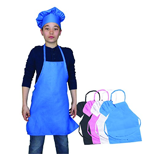 Cooking Kids Aprons (Kids Chef Hat and Kids Apron Set. Adjustable Hat. Fits Childs Size Medium 6-12. (Blue) - Free eBook)