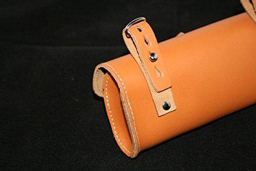 Fahrrad-Tasche hinten Sattel für Radfahren OVAL in 100% Genuine Leder. Vero Cuoio. Made in Italy. Farbe: Honig