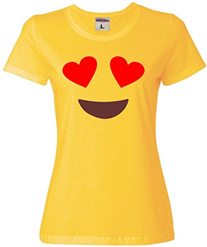 Go All Out Screenprinting Large Yellow Womens Smiling Heart Eyes Emoji Emoticon (Smiley Heart)