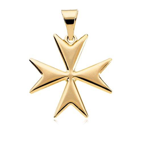 14k Yellow Gold Polished Maltese Cross Pendant, 18mm