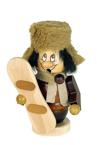 German Incense Smoker Gnome Snowboarder - 13 cm / 5 inches - Christian Ulbricht