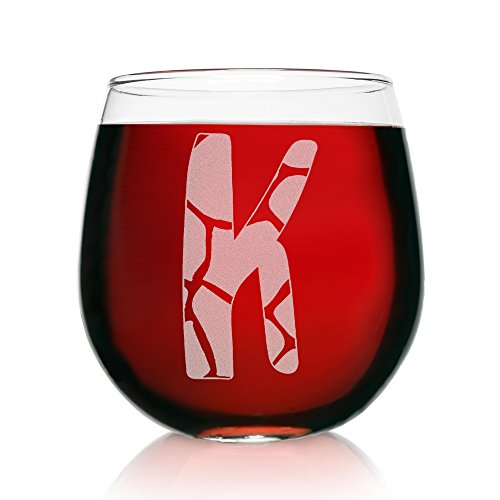 K-Monogram Giraffe- Etched Stemless Wine Glasses-Animal (Easter Basket Glass)
