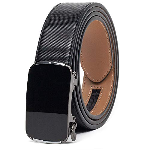 CLUBBELTS Men's Leather Ratchet Belt with Automatic Buckle, Black/White/Brown, 1 3/8 Wide, Adjustable Dress Belt for Men