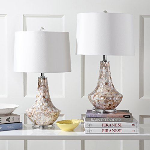 Safavieh Lighting Collection Kobe Ivory Shell 24-inch Table Lamp (Set of 2) ()