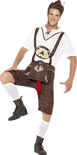 Smiffy's Men's Brad Wurst Costume, Lederhosen, Shirt and Hat, Funny Side, Serious Fun, Size L, 43399 (Lederhosen Fancy Dress Costumes)
