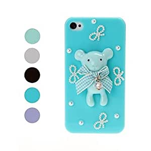 GJY3D Cute Bear and Bow with Pearl Pattern Plastic Hard Case for iPhone 4/4S , Blue