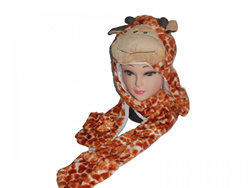 Puggles In Costumes (Giraffe_(US Seller)Hat Scarf Mittens Animal Cap Costume Long Paws)