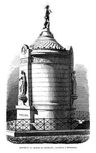 Grabado antiguo (1857) - Xilografía - Madrid.- Monumento En Memoria De Argüelles, Calatrava Y Mendizabal (12x19), Capuz