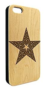 Genuine Maple Wood Organic Star Filigree Design Snap-On Cover Hard Case for iPhone 4/4S