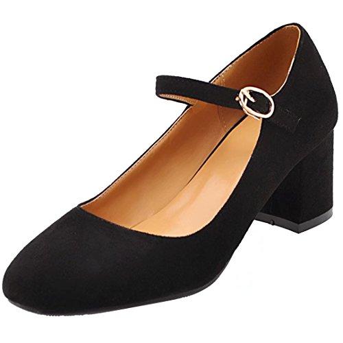 AIYOUMEI Damen Knöchelriemchen Pumps mit 5cm Absatz Blockabsatz High Heels Elegant High Shoes Schwarz