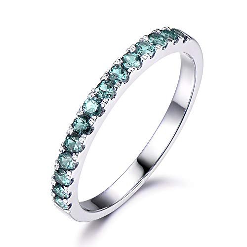 (Alexandrite Wedding Ring 14k White Gold Half Eternity Engagement Ring Color Change Stacking Matching)