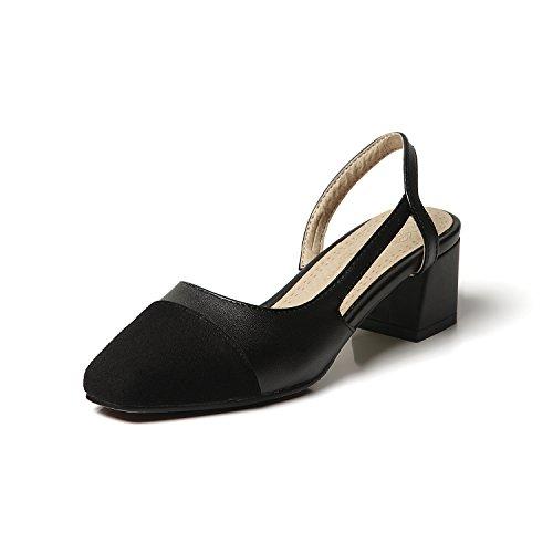 Qin amp;x Bloque Black Sandalias La Toe Mujer Cuadrado Tacón De 1qTFg