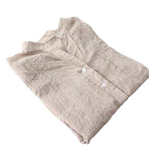 Camicetta Allentata Tops Abbottonata Zolimx Donna Lunghe Disponibili cinque Cachi Cotone Colori A Da Maniche In Casuali Camicia d774wvqP